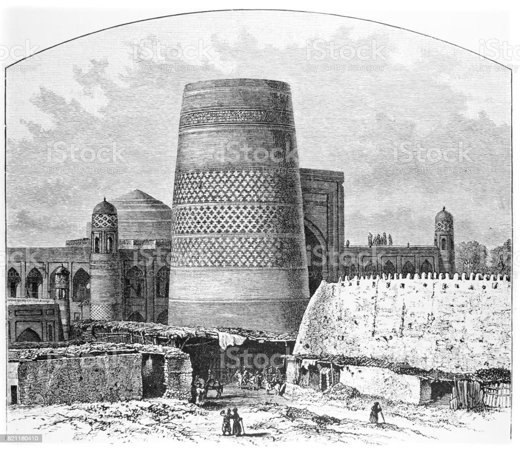 The Grand Minaret, Khiva, Central Asia vector art illustration