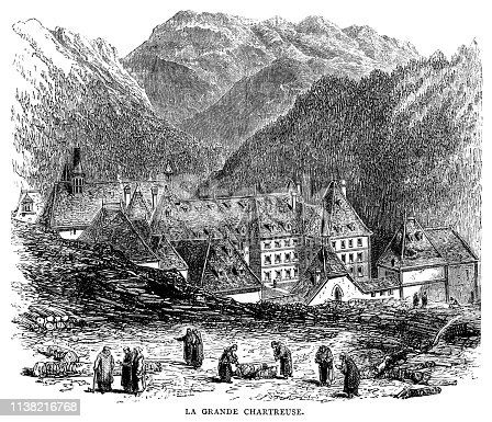 "A group of monks beside La Grande Chartreuse monastery in France. The monastery is situated in the Chartreuse Mountains, north of Grenoble, and is occupied by monks of the Carthusian order who support themselves and charities through sales of the well-known Chartreuse liqueur. From ""French Pictures: Drawn With Pen and Pencil"" by the Rev. Samuel G. Green, D.D. Published by The Religious Tract Society, London, 1878."