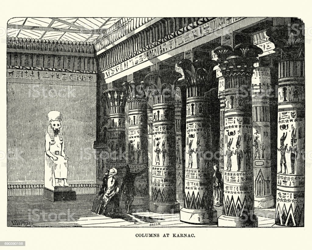 The Great Exhibition 1851 - Columns of Karnac display vector art illustration