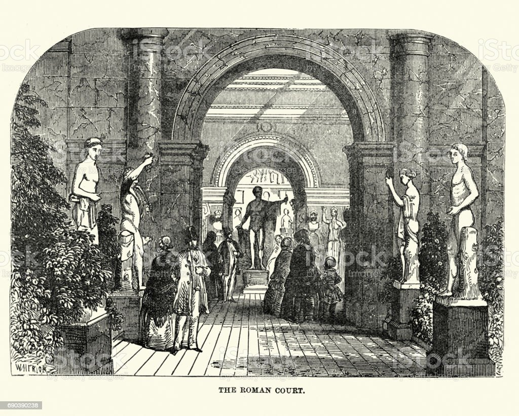 The Great Exhibition 1851 - The Ancient Roman Court vector art illustration
