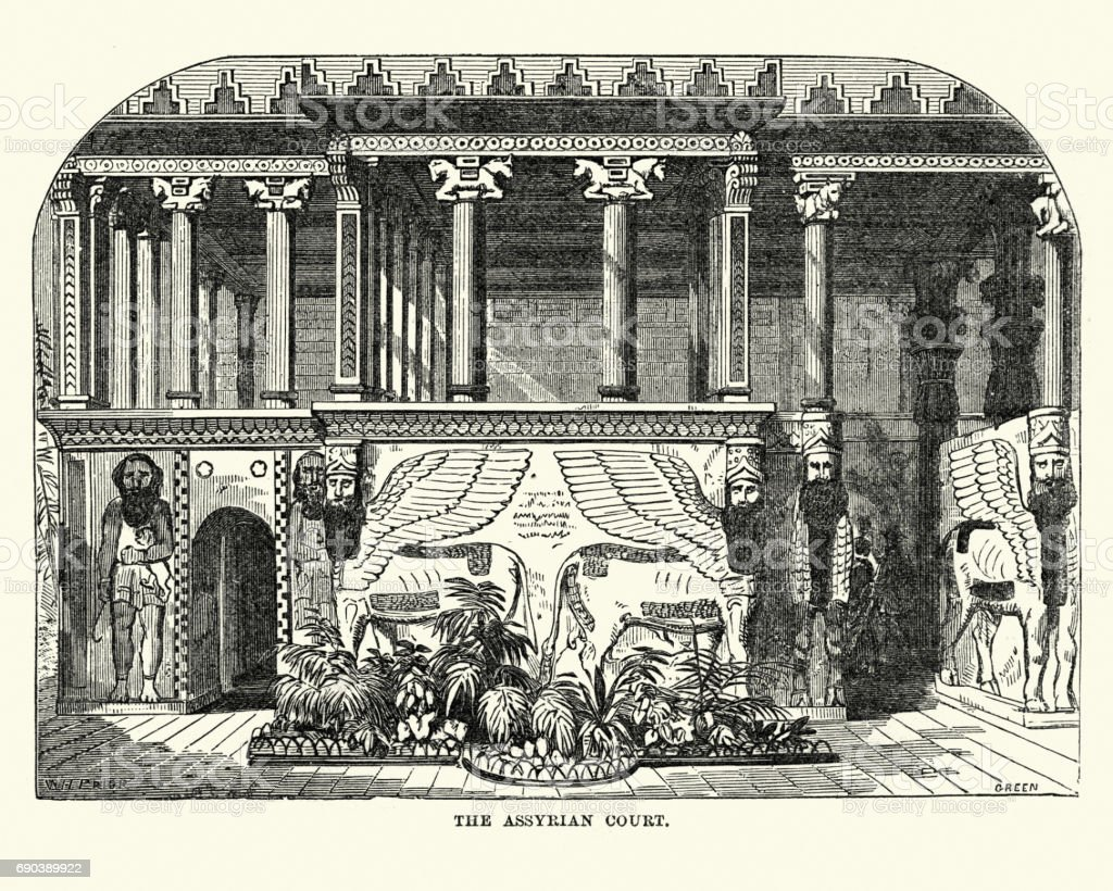 The Great Exhibition 1851 - The Assyrian Court vector art illustration
