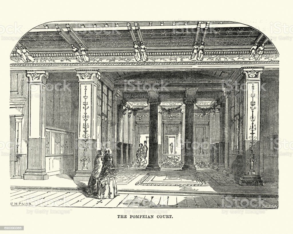 The Great Exhibition 1851 - The Pompeian Court vector art illustration
