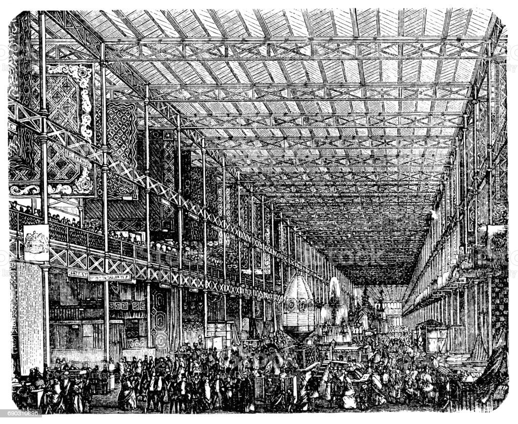 The Great Exhibition ,Crystal Palace to Sydenham 1852 vector art illustration
