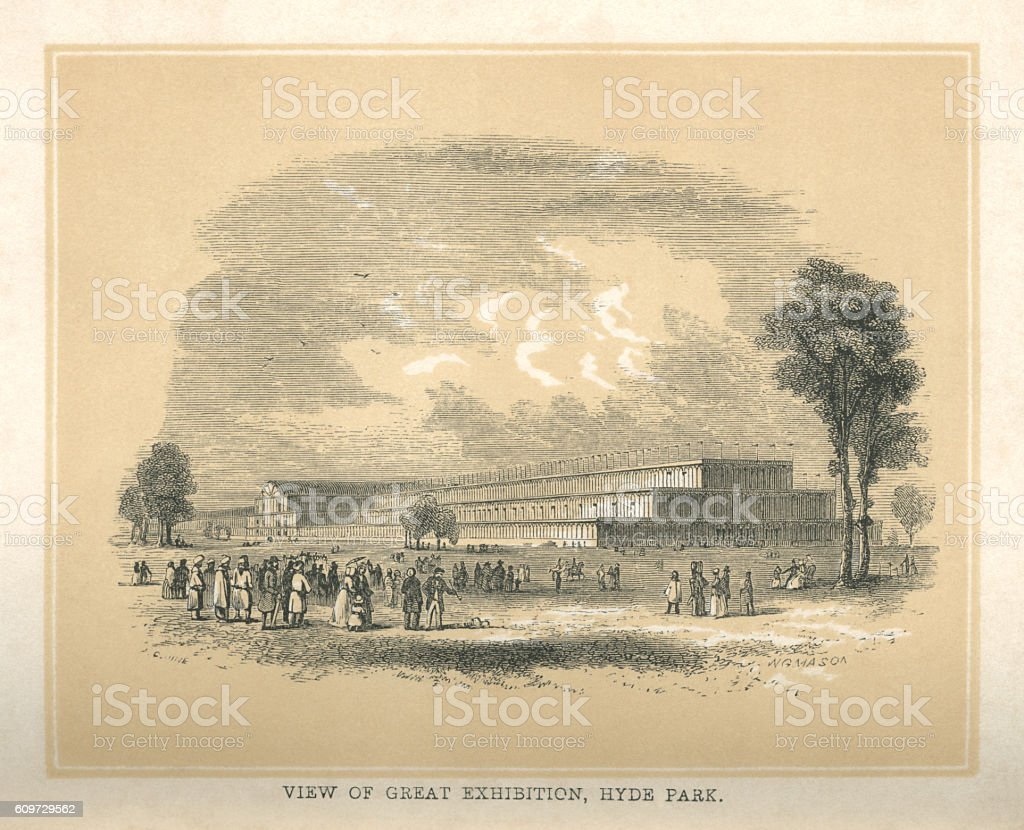 The Great Exhibition, Hyde Park vector art illustration