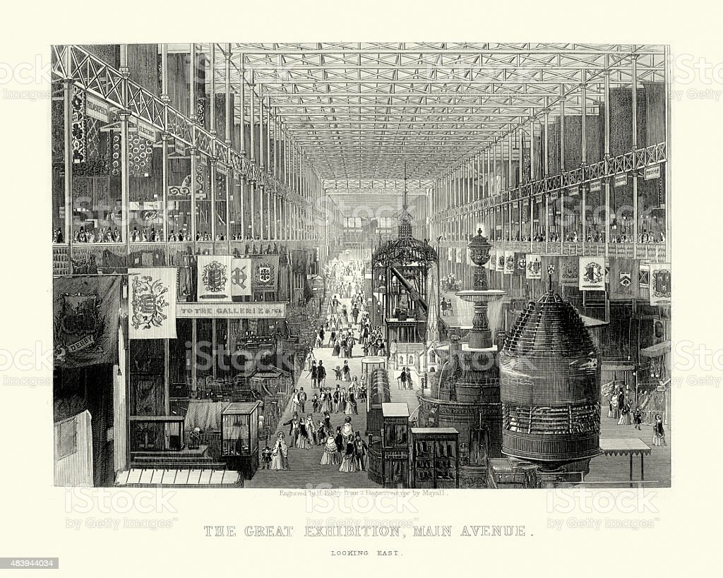 The Great Exhibition, Main Avenue, 1851 vector art illustration