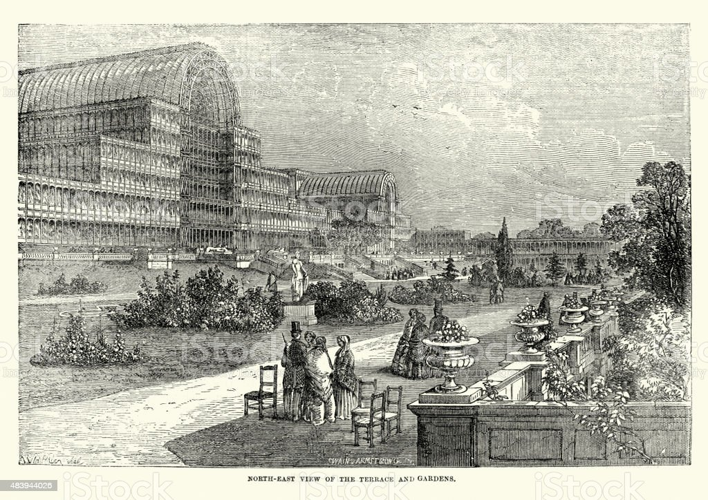 The Great Exhibition, Terrace and Gardens, 1851 vector art illustration