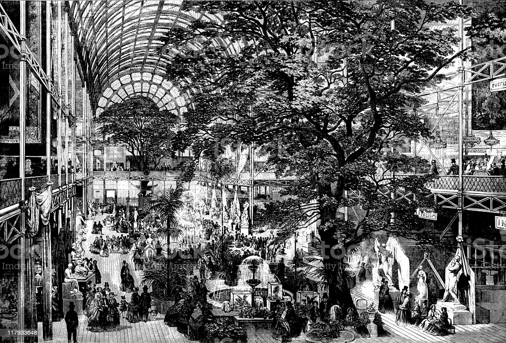 The Great Exhibition trancept 1851, Illustrated London News vector art illustration