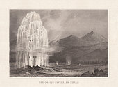 The Great Geyser on Hekla, Iceland. Steel engraving, published in 1857.