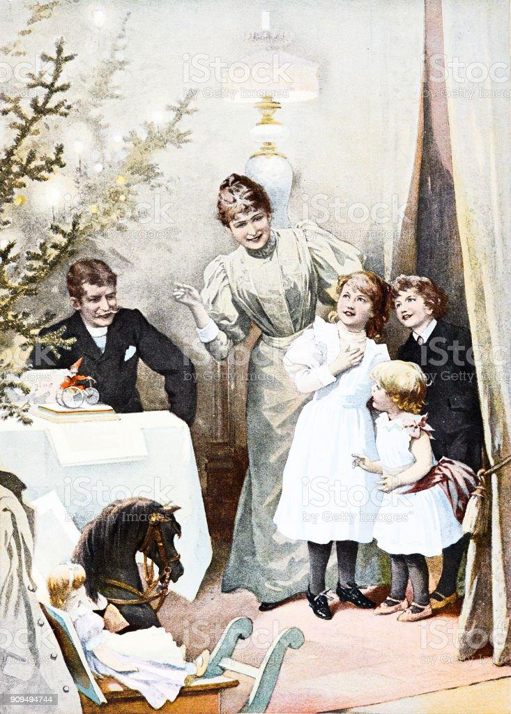 Der Große Moment Zu Weihnachten Mutter Führt Kinder Ins Wohnzimmer ...