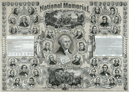 Vintage image features US presidential portraits of George Washington, Thomas Jefferson, Andrew Jackson, Jefferson Davis, and Abraham Lincoln with portraits of their respective cabinet members, two vignette scenes showing the landing of Columbus and William Penn meeting with Native Americans, text of the Declaration of Independence, a synopsis of US history, a cameo portrait of Lafayette, and 48 cameo portraits of prominent Americans arranged along the top and side borders.
