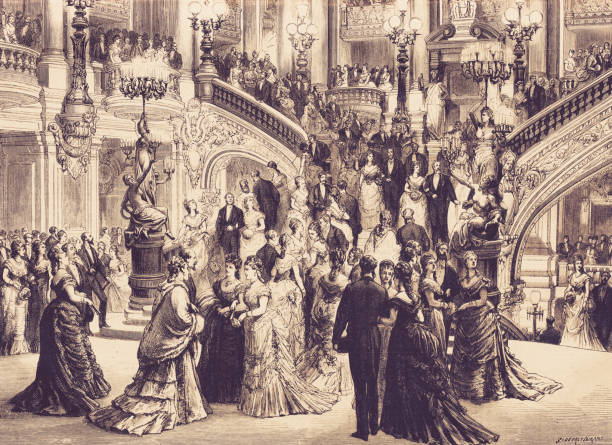 The great opera in Paris. The staircase. history, vintage, illustration, retro style,  19th Century Style, old, Opera, Paris, staircase, event, paris black and white stock illustrations