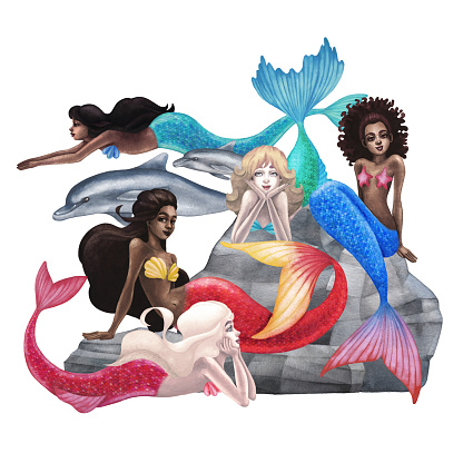 The group of watercolor mermaids with the diverse appearance