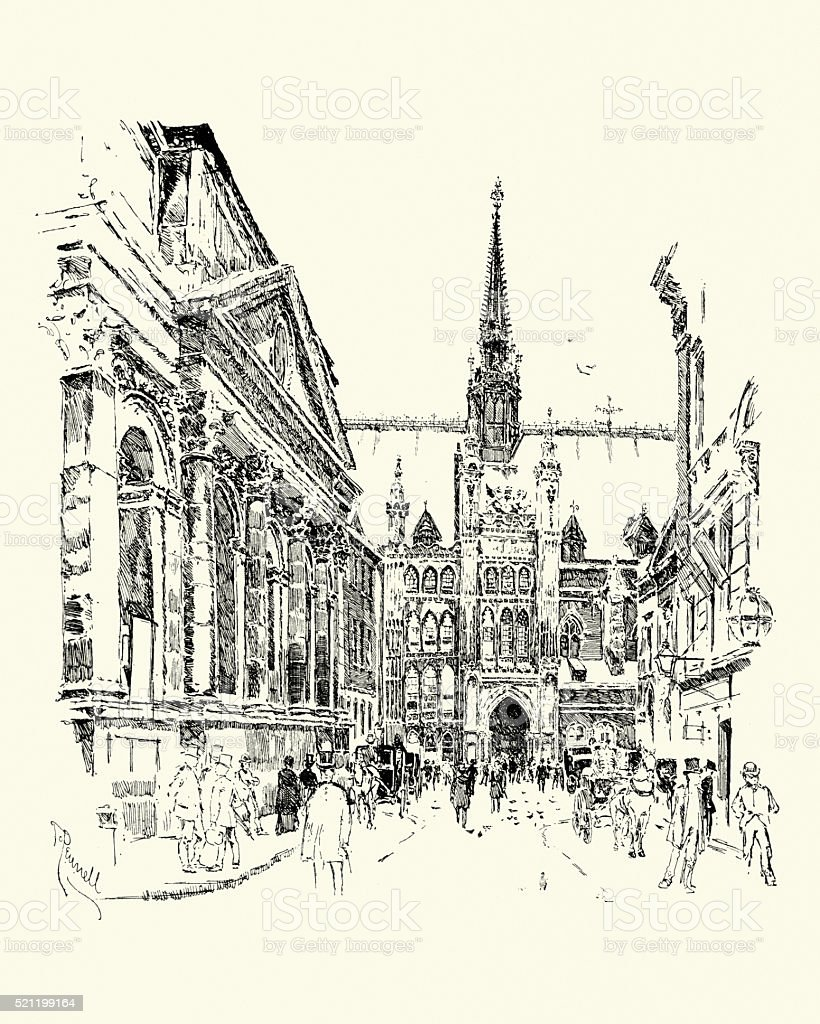 The Guildhall, London, 1900 vector art illustration