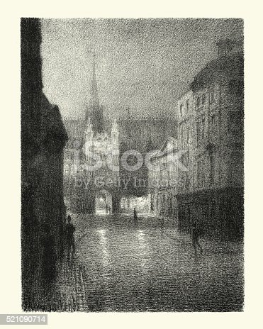 Vintage autolithograph of outside the Guildhall, London, England. 1900.  Thomas Robert Way