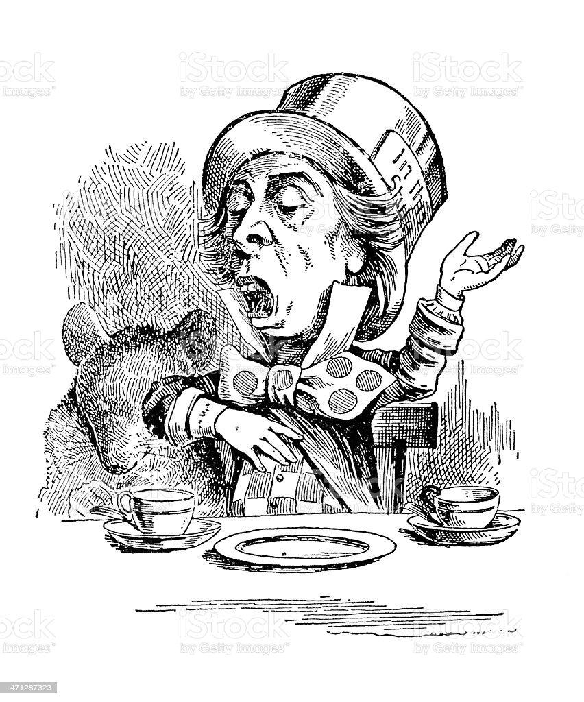 Il Hatter, Alice nel Paese delle meraviglie - illustrazione arte vettoriale