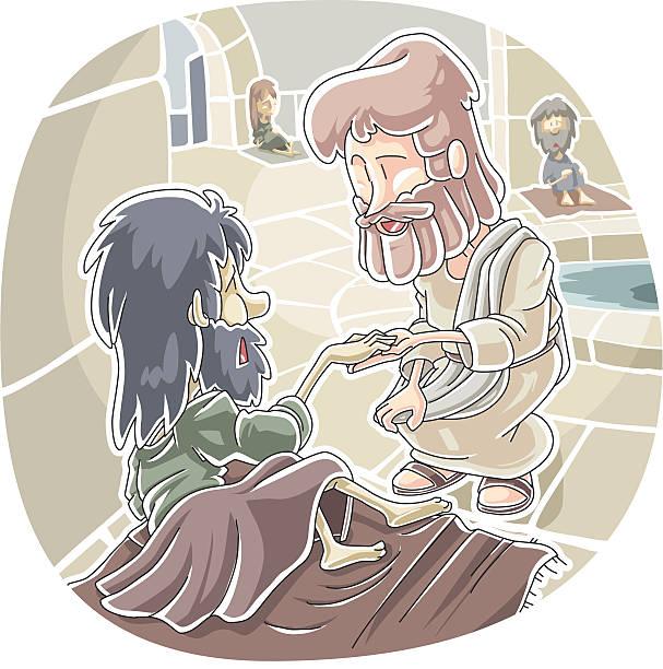 The healing at Bethesda vector art illustration