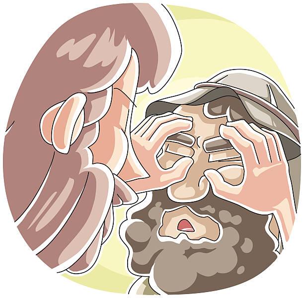 The Healing of a Blind Man at Bethsaida vector art illustration
