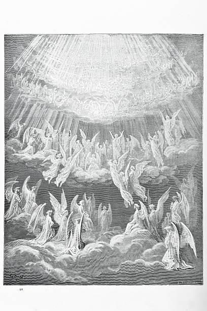 illustrazioni stock, clip art, cartoni animati e icone di tendenza di l'heavenly coro - dante alighieri