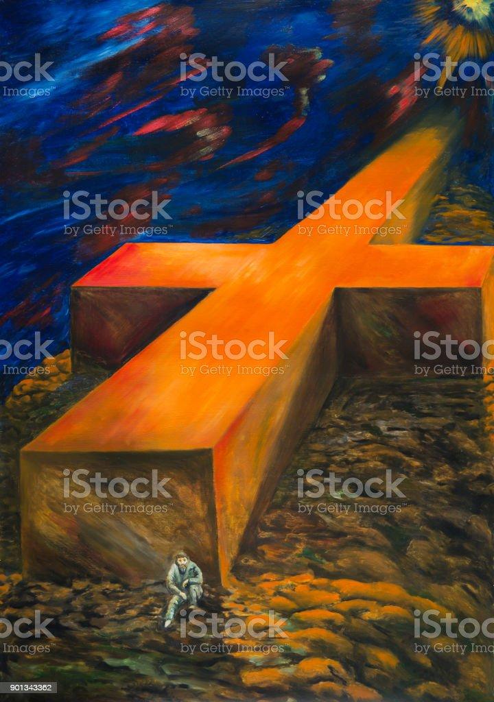 The heavy cross of fate vector art illustration