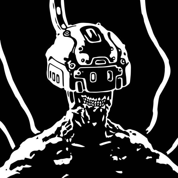bildbanksillustrationer, clip art samt tecknat material och ikoner med hjälmen av virtuell verklighet - tron sci fi