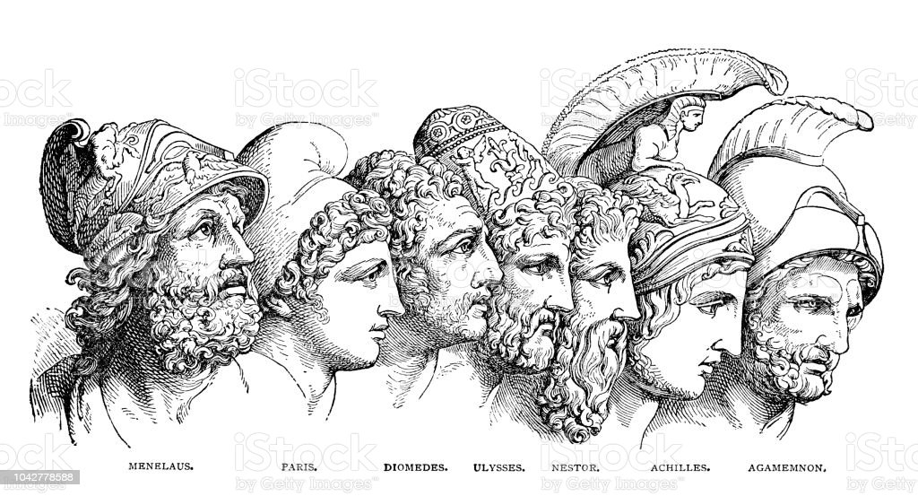 The Heroes of antiquity vector art illustration