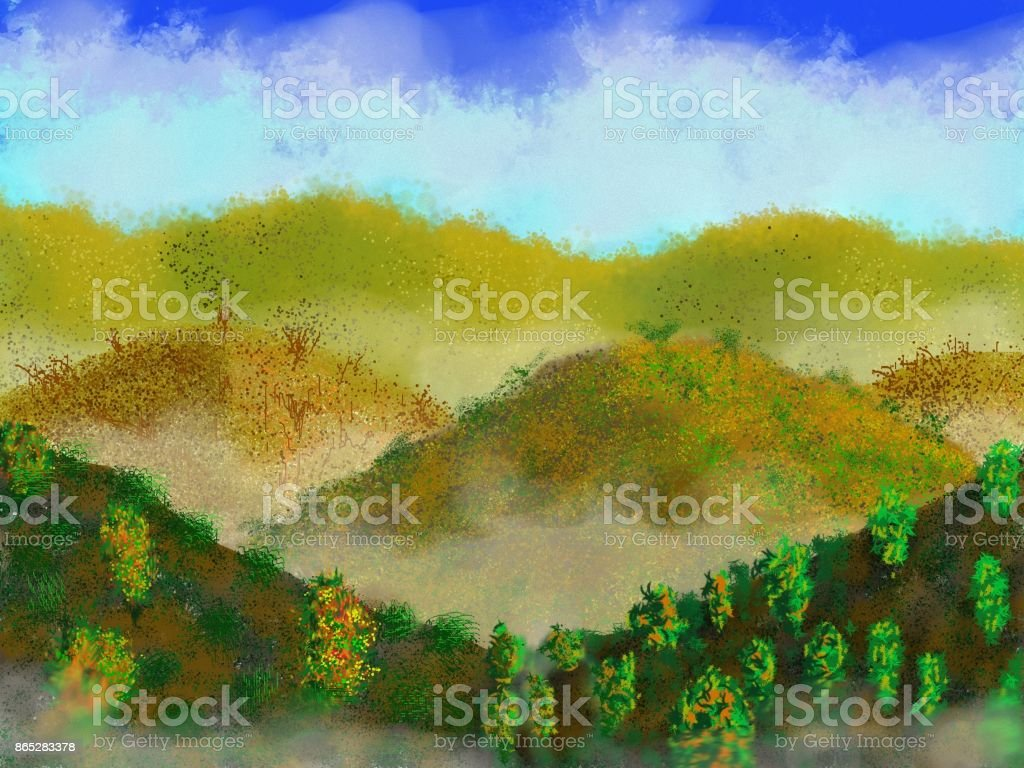 The Hills The image of sweet and charming nature. With its varied colors of yellowish green trend, its brown lands and its active fog, it becomes impressive and attractive Art stock illustration