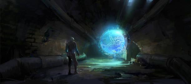 Das holographische Bild entfaltete sich im dunklen Tunnel, Digitale Illustration. – Vektorgrafik