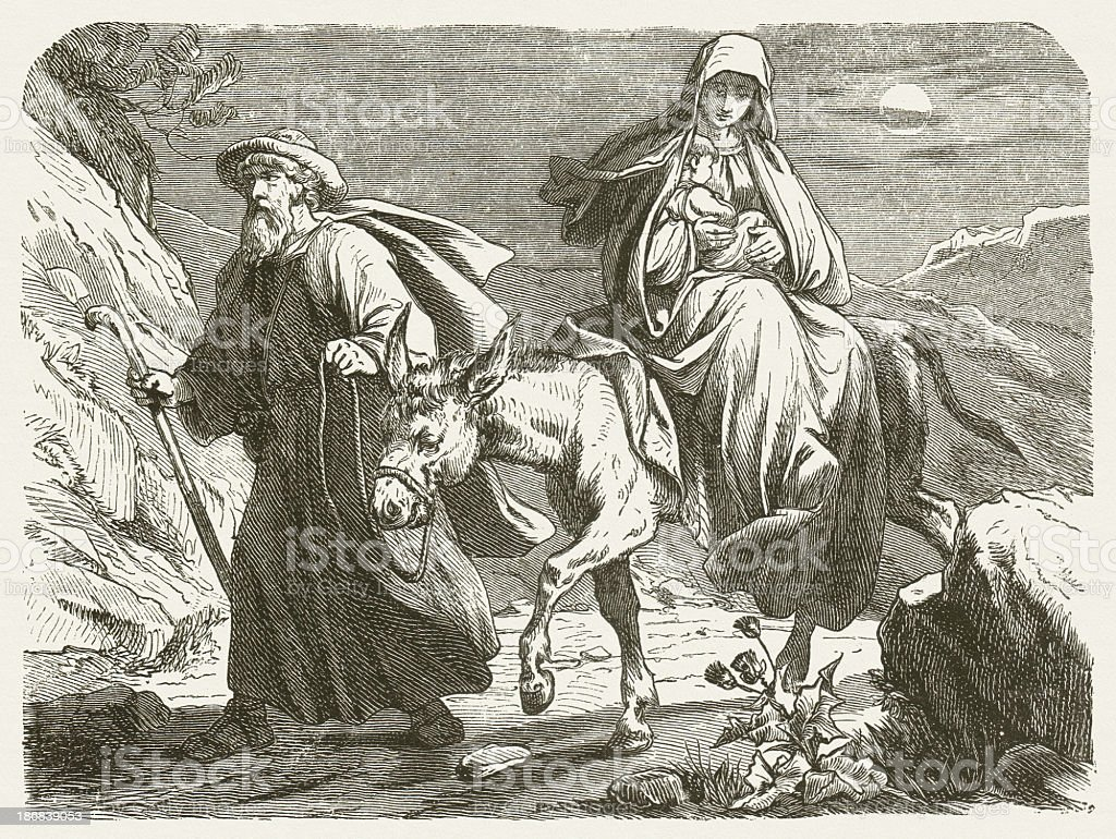 The Holy Family on the Flight into Egypt, published 1877 vector art illustration