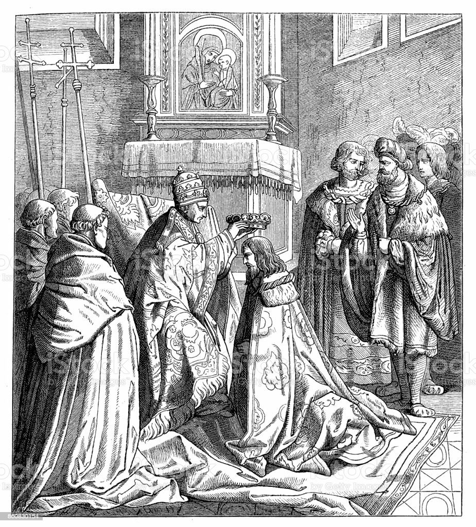 The Holy Roman Emperor FRIEDRICH III is crowned in Rome by Nicholaus V - the last emperor to go to Italy to be crowned by the Pope vector art illustration