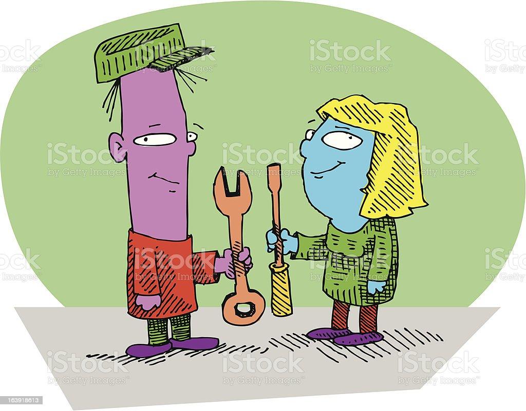 The Home Repair Duo... royalty-free stock vector art