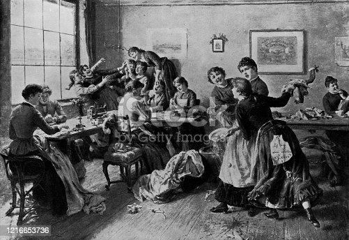 The Hour for Luncheon by Emanuel Spitzer (circa 19th century). Vintage etching circa late 19th century.