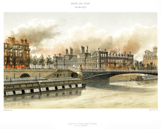 The Hôtel de Ville, the fire in may 1871. By Paris through the ages 1875 Paris, evolution of places thru the time seine river stock illustrations