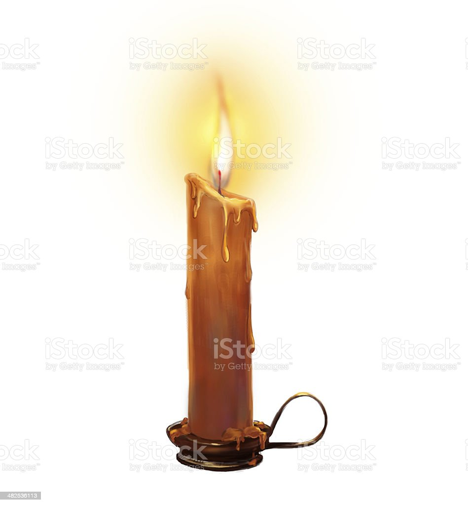The illustration with burning candle on a white background. vector art illustration