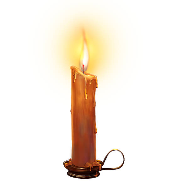 The illustration with burning candle on a white background. The author's illustration with burning and melting candle in the candleholder on a white background. Photoshop. candlestick holder stock illustrations