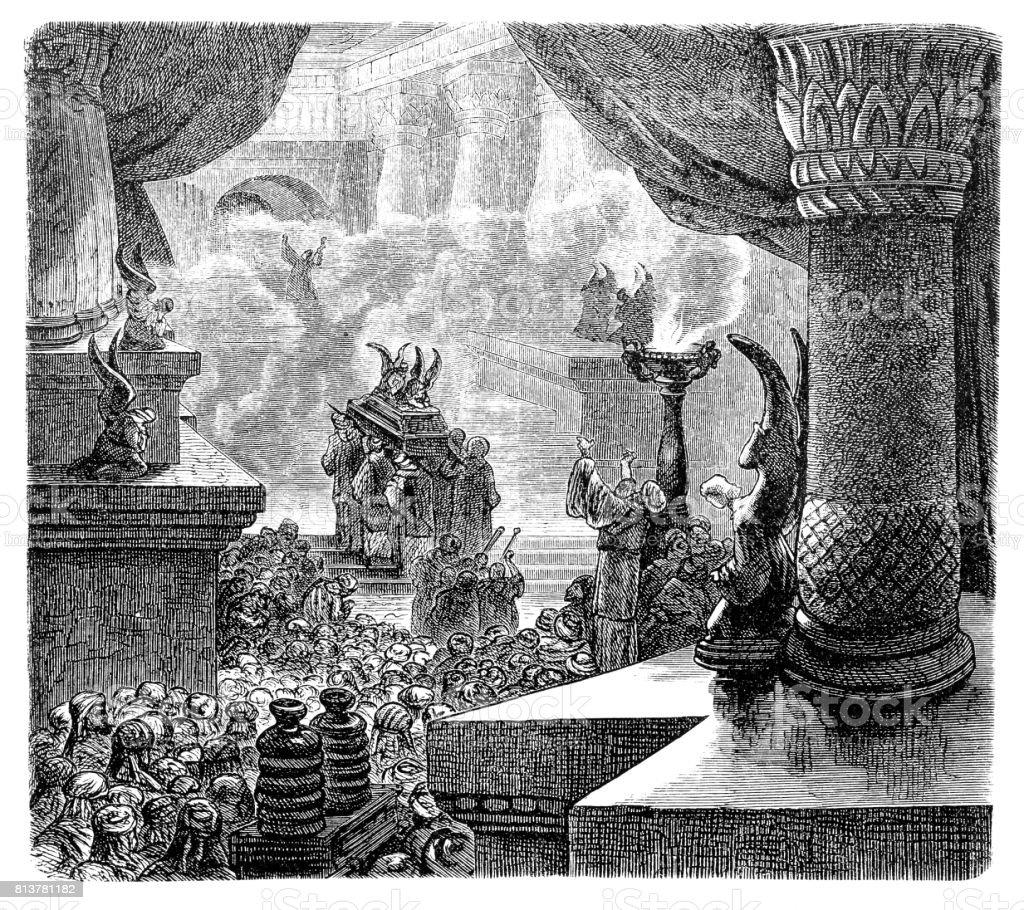 The Inauguration of the Solomonic Temple vector art illustration