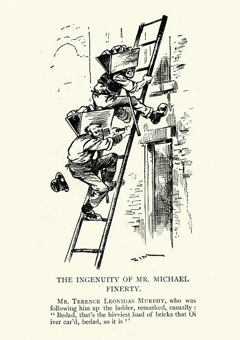 The ingenious bricklayer, Victorian cartoon, 19th Century