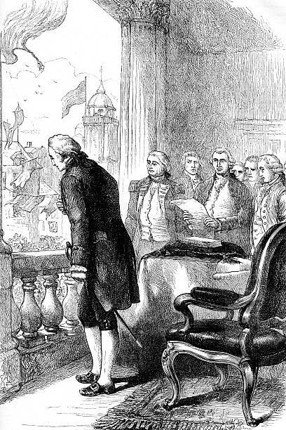 The Installation of George Washington Vintage engraving of the Installation of George Washington, first president of the USA inauguration stock illustrations