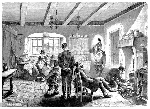 Illustration of the interior of a farmhouse town near Orleans