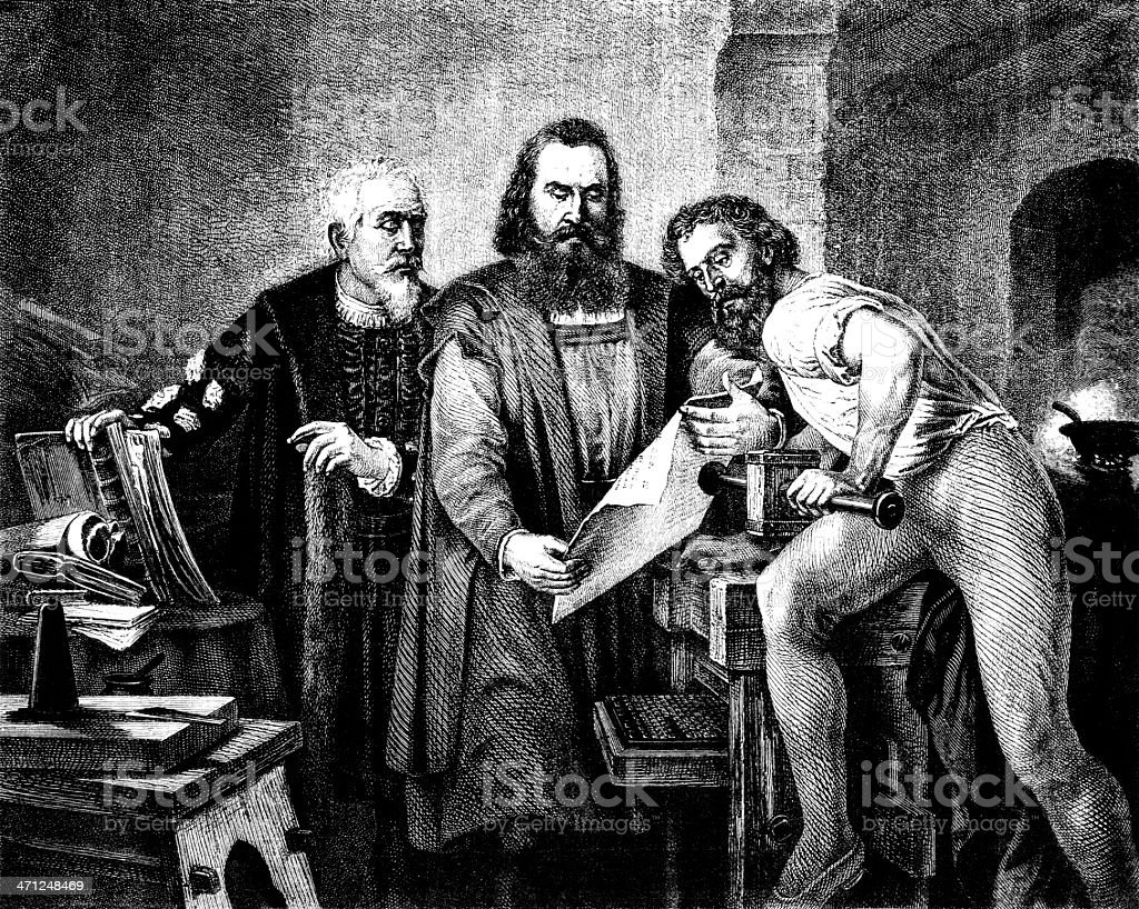 The invention of printing (Victorian depiction) royalty-free the invention of printing stock vector art & more images of 1870-1879