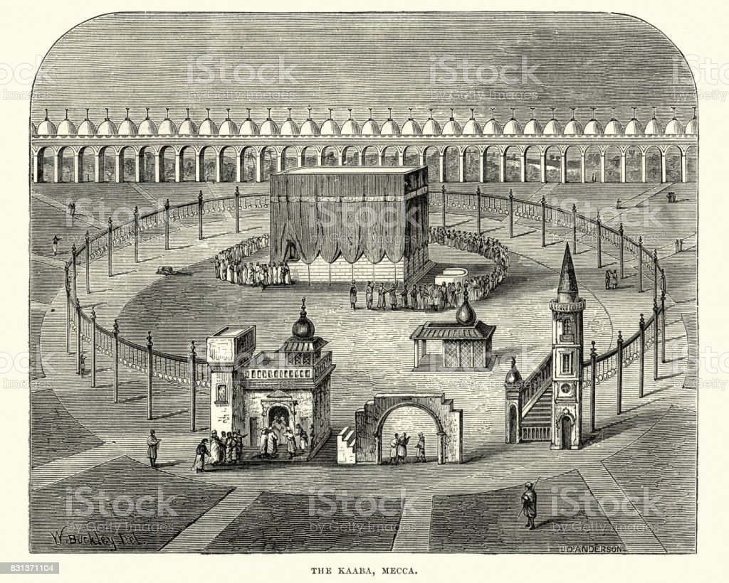 The Kaaba, Mecca, 19th Century vector art illustration