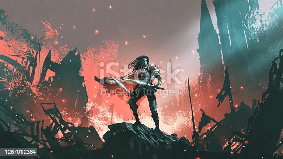 istock The knight with twin swords 1267012364