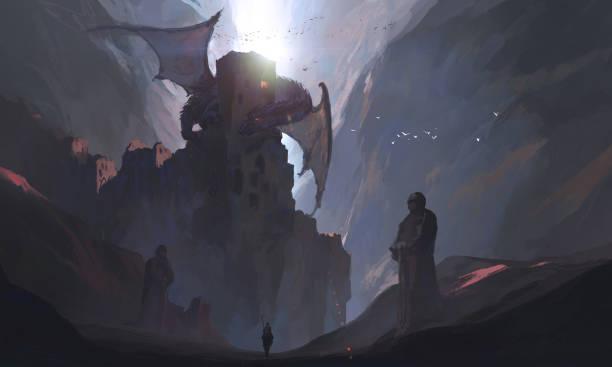 Die Ritter im Canyon fordern den Drachen, die digitale Malerei. – Vektorgrafik