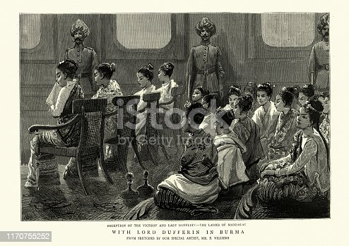 Vintage engraving of The ladies of Mandalay, Burma, 19th Century. Reception of the Viceroy and Lady Dufferin