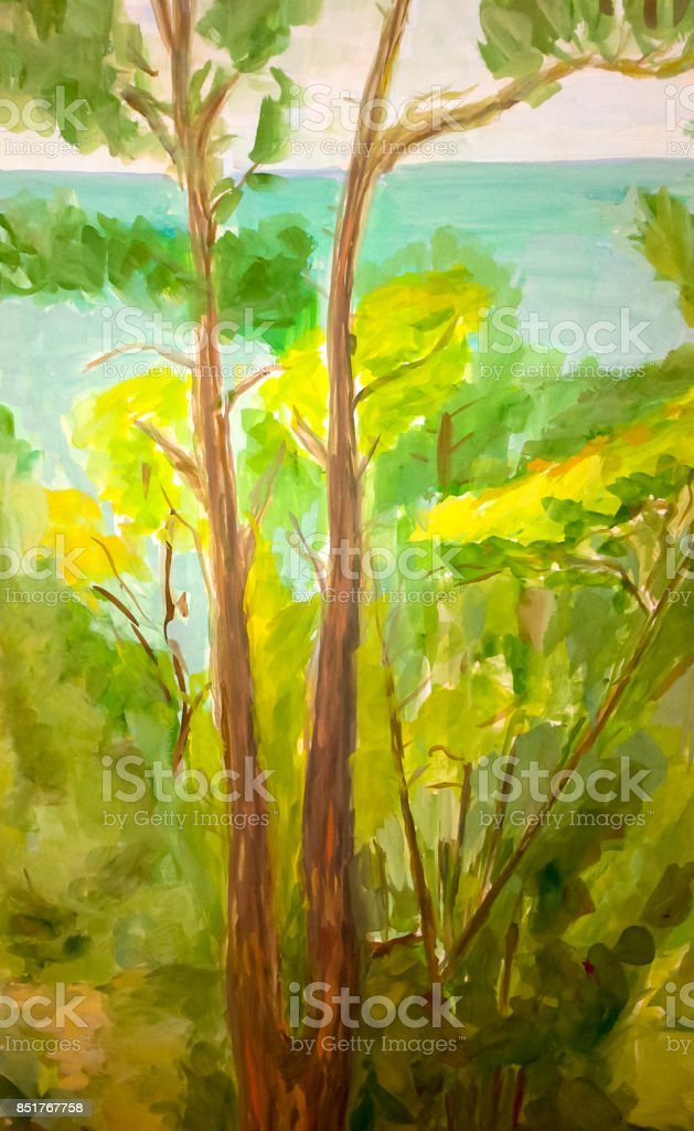 The landscape is natural. River and trees on the shore. vector art illustration