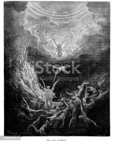 Vintage engraving from the 1870 of a scene from the New Testament by Gustave Dore showing The Last Judgement