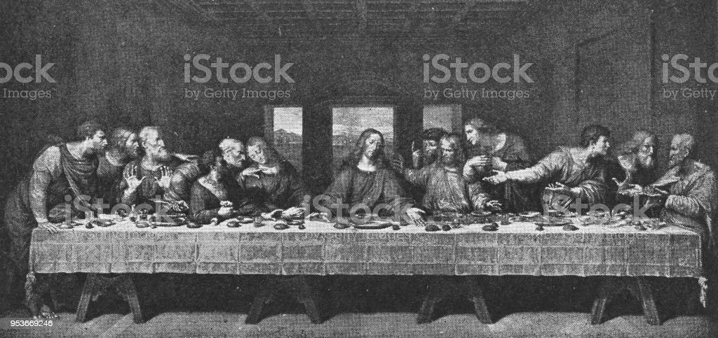 The Last Supper by Leonardo da Vinci - 19th Century vector art illustration