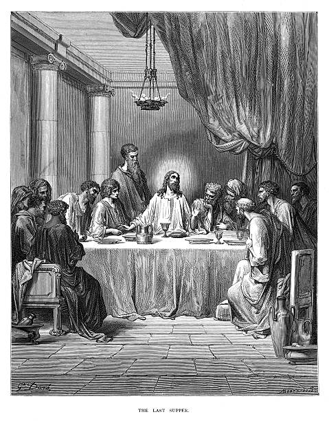 ilustraciones, imágenes clip art, dibujos animados e iconos de stock de the last supper engraving 1870 - la ultima cena