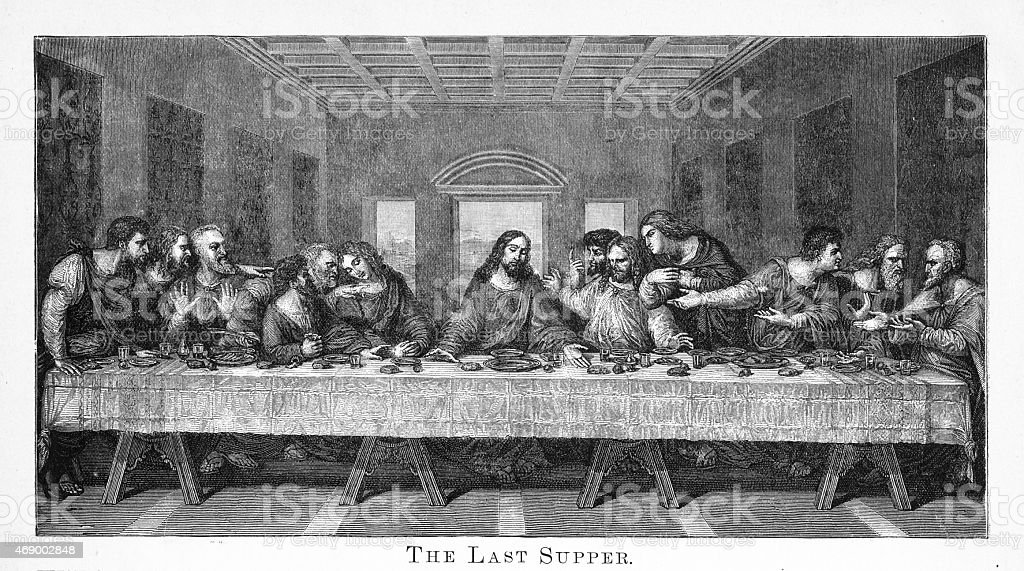 The Last Supper Engraving vector art illustration