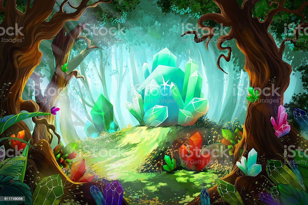 The Legend of Diamond and Crystal Forest vector art illustration