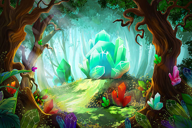 bildbanksillustrationer, clip art samt tecknat material och ikoner med the legend of diamond and crystal forest - wood stone